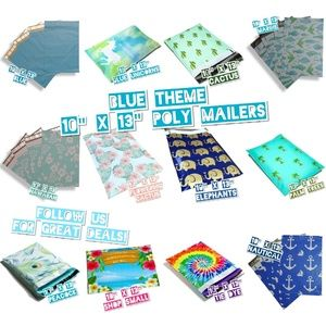 """120 Mix Blue Theme 10""""x13"""" Poly Mailers (10 ea)"""